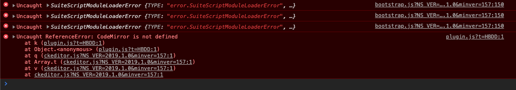 Custom Record: Use require() in client side Message window - CodeMirror errors