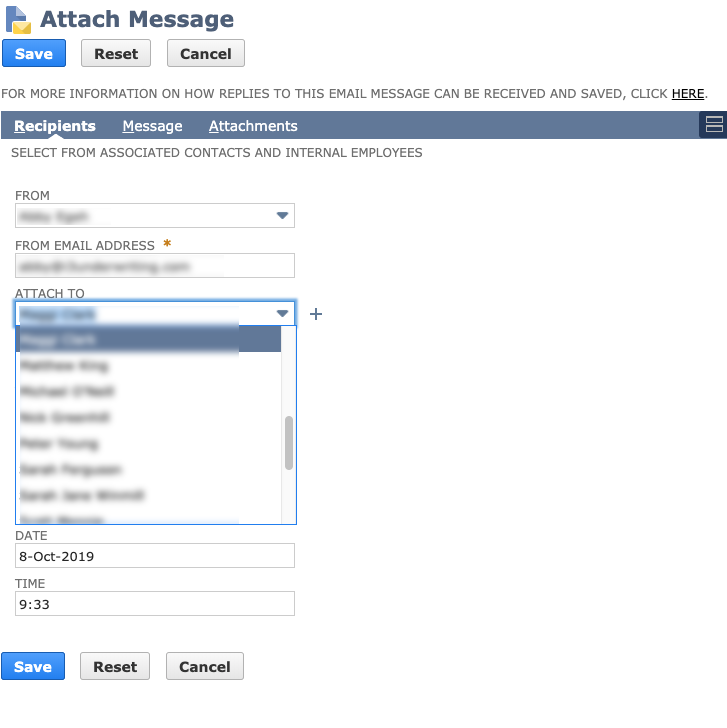 Attach Message: