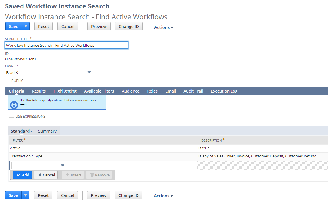 Active Workflow saved search.
