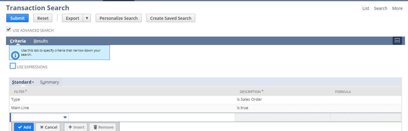 Saved search for Amount spent by customer in one year on sales orders