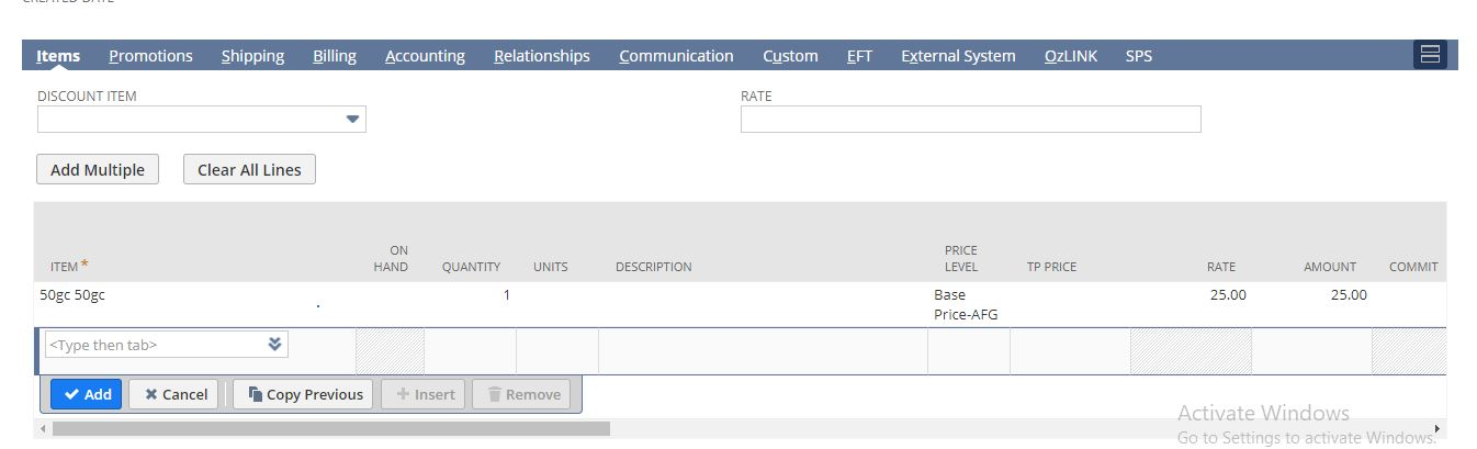 RE: Added a gift item in sales order transaction but can not see gift certificate column