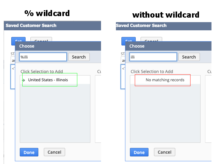Is there a setting to allow popup searches to use % wildcard by default?