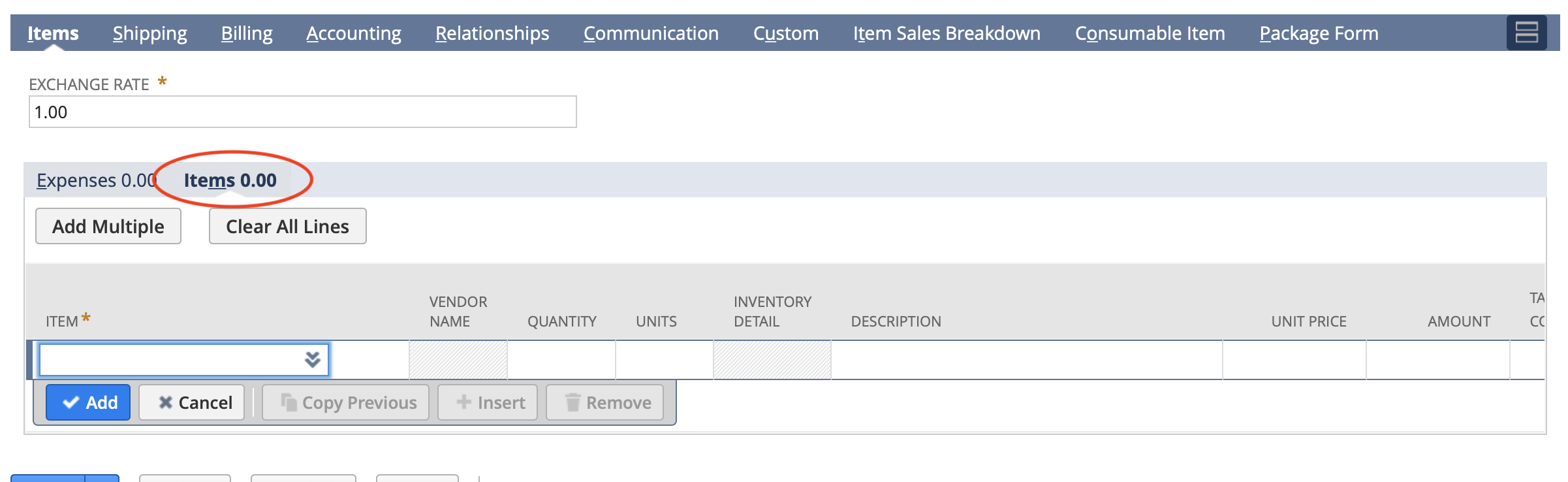 RE: Just learning NetSuite, can't figure out why my PO won't allow me to see lime items.  Its only allowing expenses.