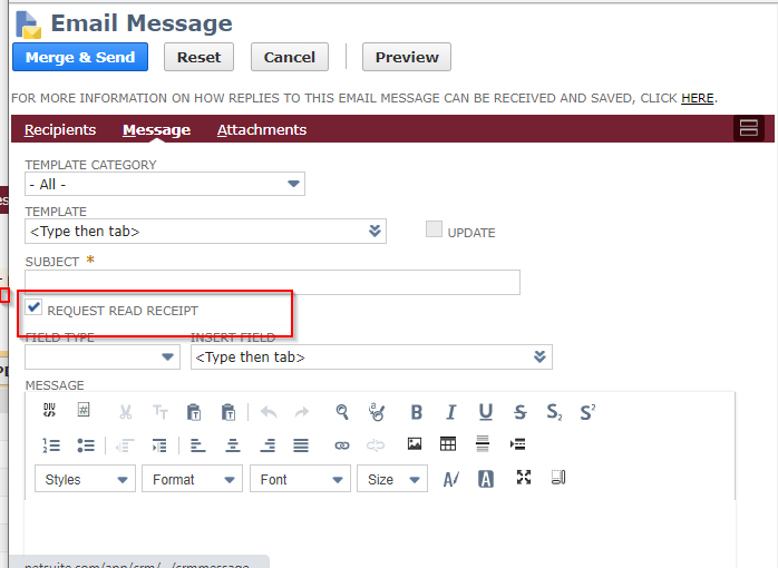 RE: Track Email Open in NetSuite