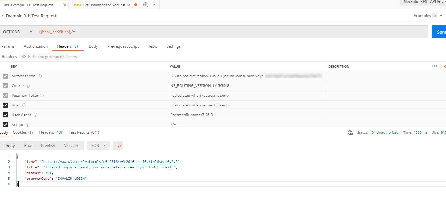 REST invalid login error