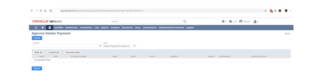 How to setup Vendor Payment Approval so they show up in the Approval Vendor Payment screen?