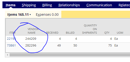 How do I add the vendor item name or item code to a late purchase order search?