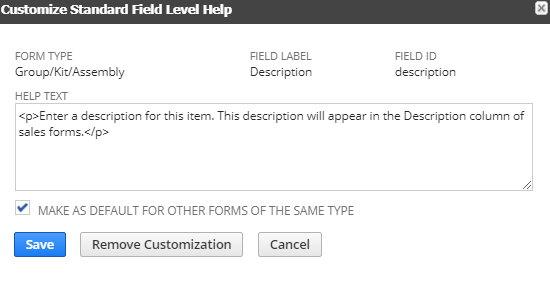 RE: Edit Default Fields ?