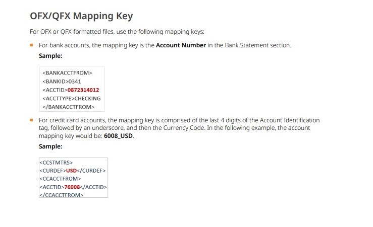 Bank feed account mapping