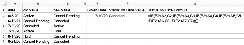 How to get a field value as of a specified date?