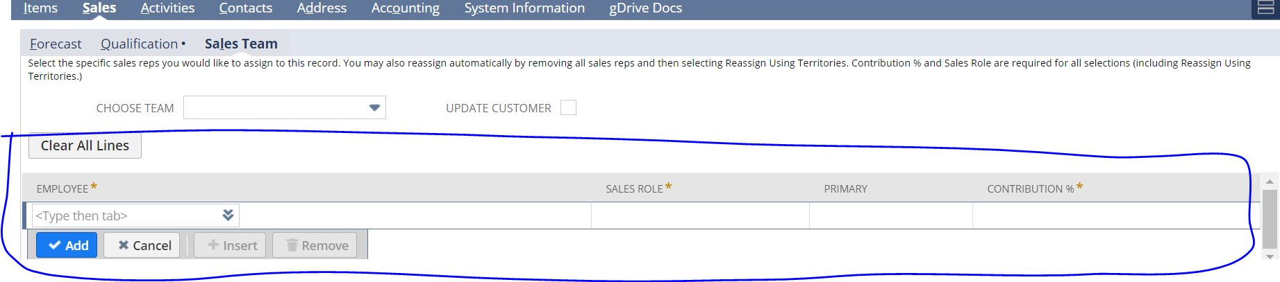 Create sublist  same like Sales Team sublist