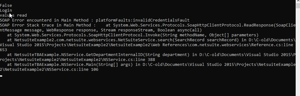 RE: Getting this exception while connecting to Netsuite and trying to pull data from Netsuite in C#. I have attached the photo below.