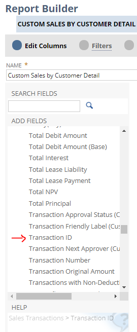 RE: How to Show Transaction Internal ID on Report Builder Reports