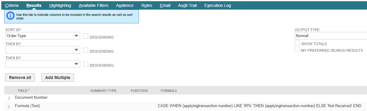 RE: How To Get Item Receipt ID from Return Auth Transaction Search?