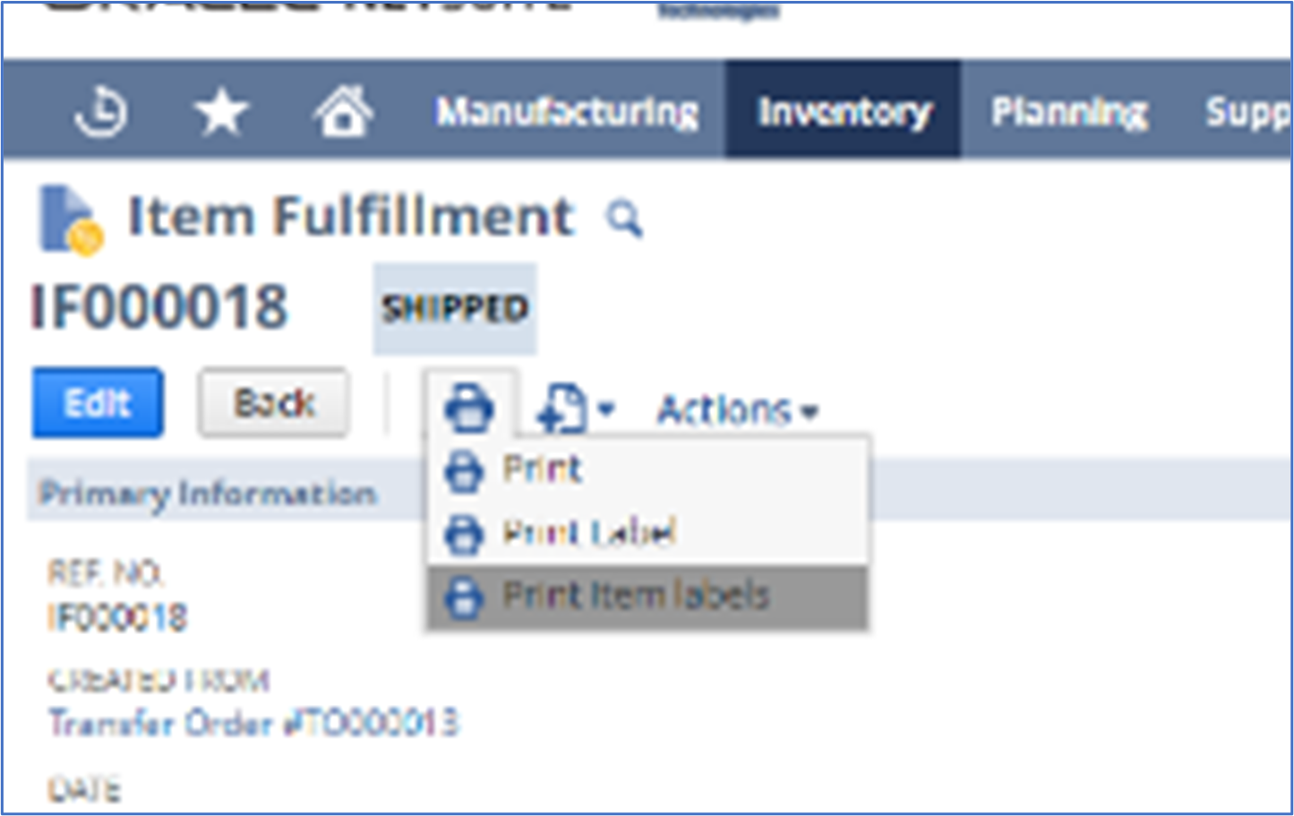 Modify print/label templates